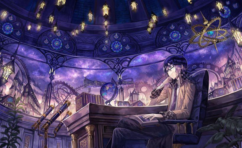 anime male black hair book building glasses leaves male original seifuku short hair stars tie train wallpaper