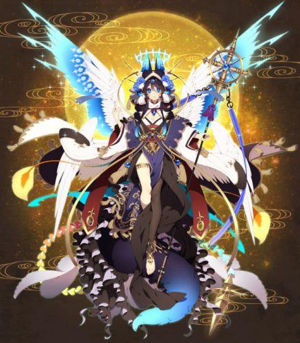 anime girl beautiful animal ears barefoot black hair blue eyes blue hair flower garter headdress horns kimono long hair ribbon smile staff tail tenshi Rikka Kitan wallpaper
