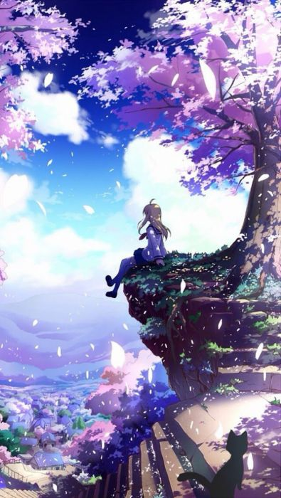 anime girl beautiful tree summer sunshine wallpaper