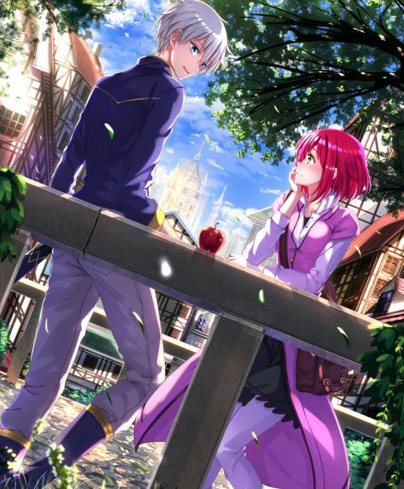 anime girl beautiful Akagami no Shirayukihime blue eyes blush boots food green eyes grey hair happy pants red hair short hair skirt sky smile tree wallpaper