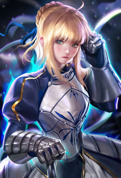 anime girl beautiful ahoge blonde hair braids dress green eyes odango warrior wallpaper