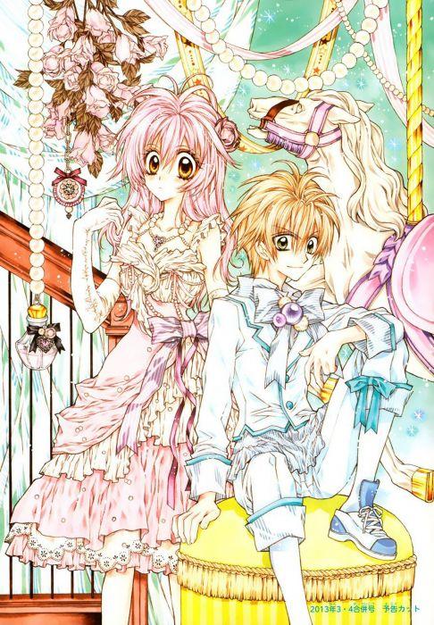 anime girl beautiful ahoge blonde hair blush dress flower gloves green eyes jewelry long hair orange eyes pantyhose pink hair ribbon smile stars wallpaper