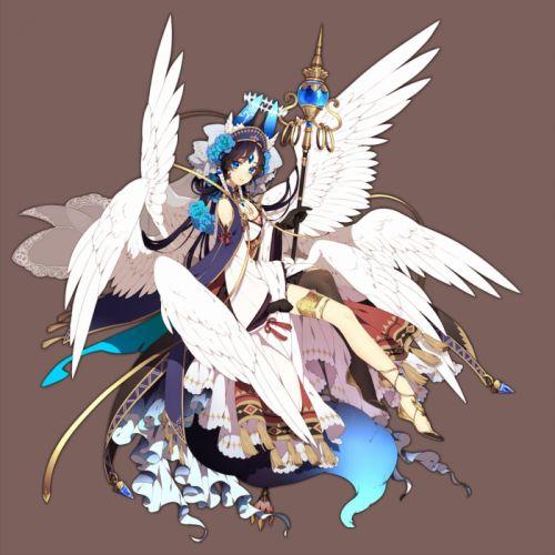 anime girl beautiful animal ears black hair blue eyes braids cloak dress flower garter gloves headdress long hair pantyhose ribbon sandals staff tail tenshi Rikka Kitan wallpaper