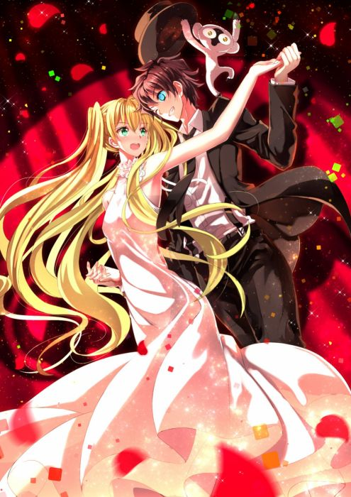 anime girl beautiful animal blonde hair blue eyes blush brown hair dance dress flower green eyes happy hat holding hands long hair short hair smile suit tie twin tails wink yellow eyes Blood Blockade Battlefront wallpaper