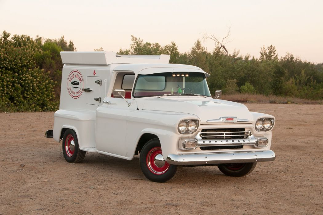 1958 Chevy 3100 Ice Cream Truck pickup hot rod rods custom retro wallpaper
