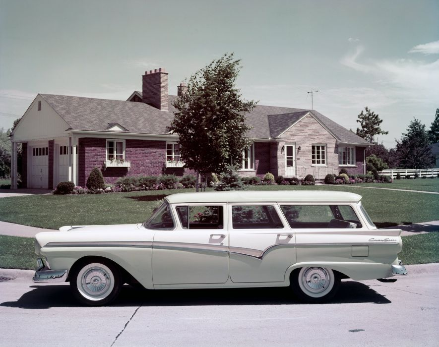 1957 Ford Country Sedan stationwagon retro wallpaper