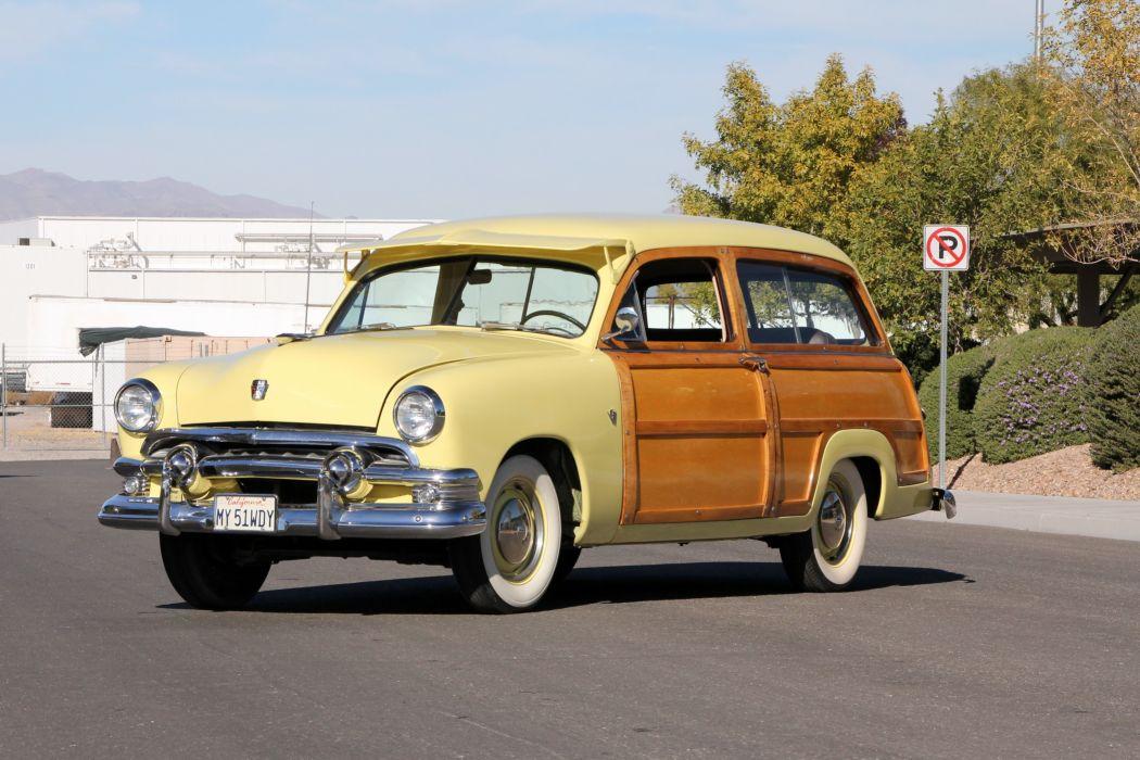 1951 Ford Custom Deluxe StationWagon 1BA-79 retro woody wallpaper