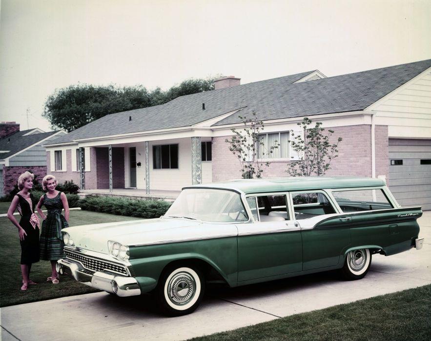 1959 Ford 4-door Ranch Wagon 71H stationwagon retro wallpaper