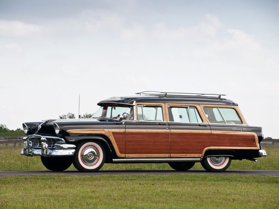 1956 Ford Country Squire 79C stationwagon retro woody wallpaper