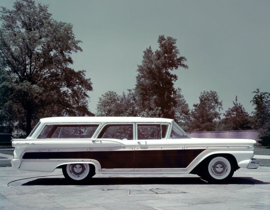 1959 Ford Country Squire 71G stationwagon retro wallpaper
