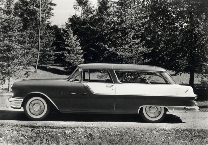 1955 Pontiac Star Chief Custom Safari stationwagon retro wallpaper