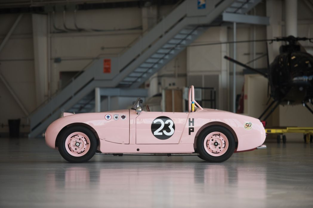 1959 Austin Healey Sprite SCCA Think pink Mk1 race racing rally retro wallpaper