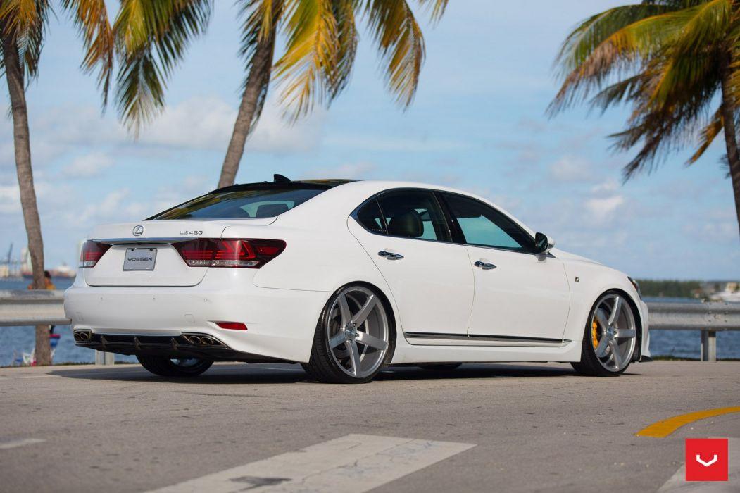 Lexus LS white sedan cars Vossen Wheels wallpaper
