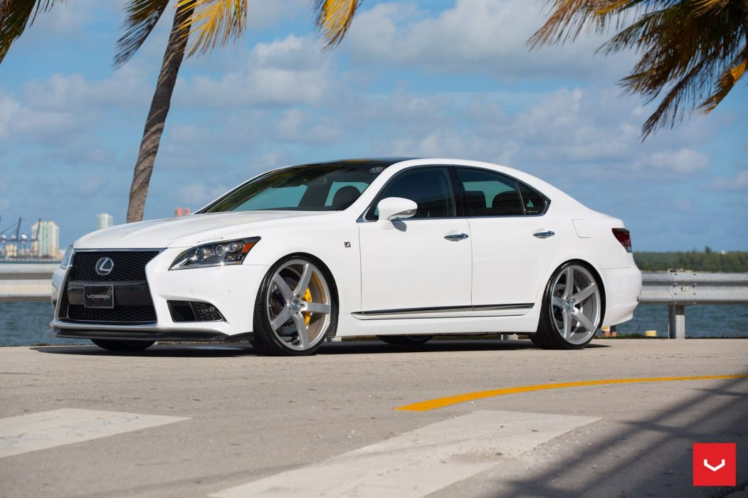 Lexus LS white sedan cars Vossen Wheels wallpaper