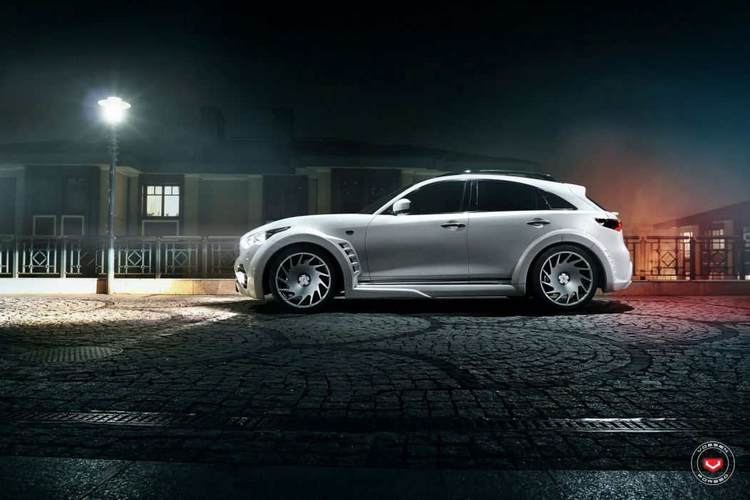 Infiniti QX70 suv white cars Vossen Wheels wallpaper