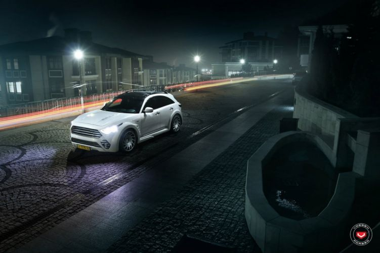 Infiniti QX70 suv white cars Vossen Wheels wallpaper