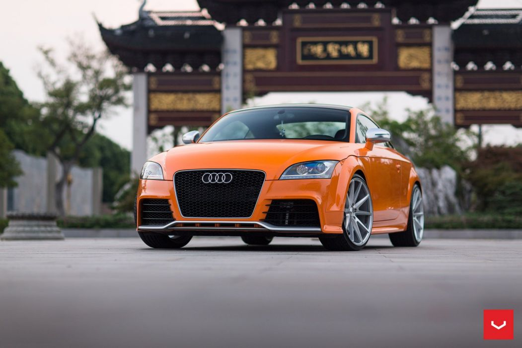 Audi TT RS coupe Orange cars Vossen Wheels wallpaper