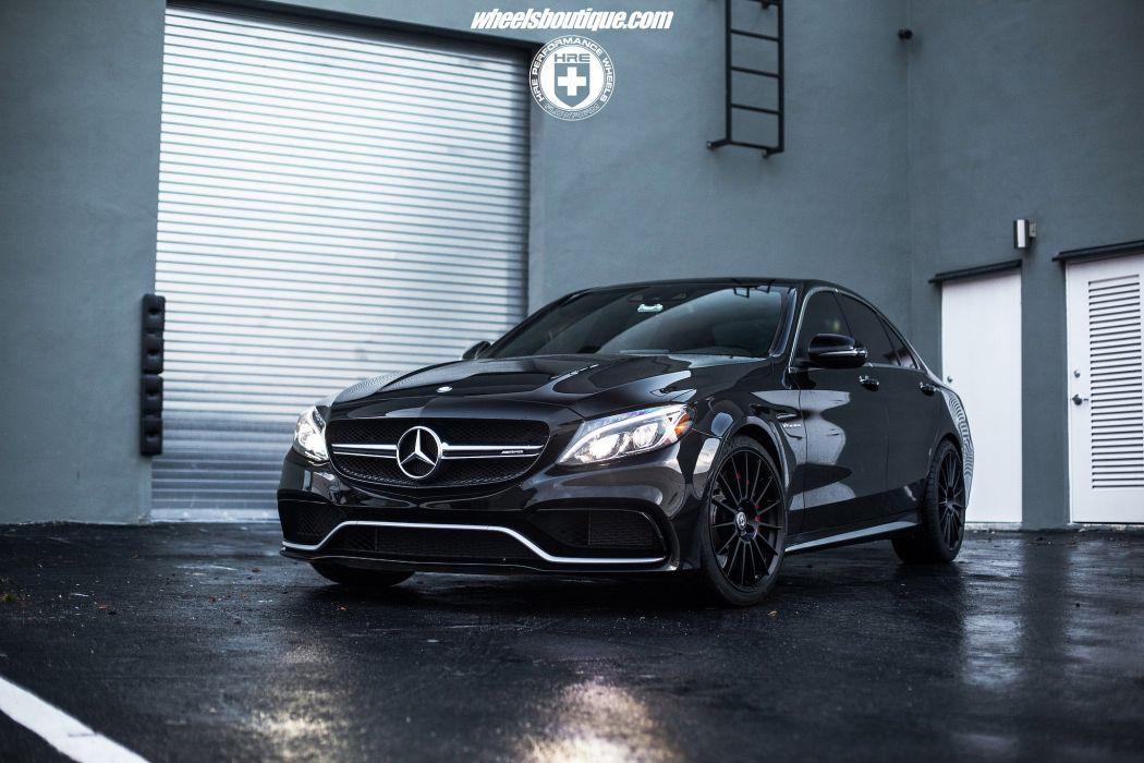 Mercedes Benz C63 S AMG black cars hre Wheels wallpaper