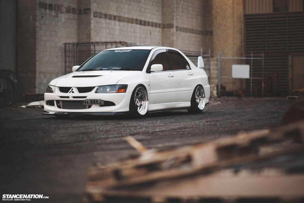 MITSUBISHI EVO cars white wallpaper
