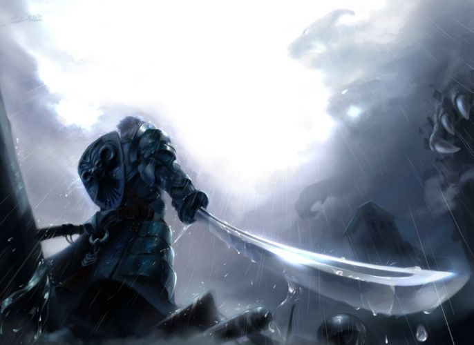 male armor clouds huykho192 male monochrome original rain signed sword water weapon wet wallpaper