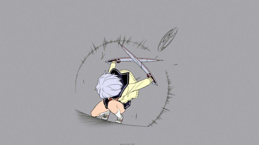 amamiya kyouka karasuma wataru not lives seifuku short hair skirt socks weapon white hair wallpaper