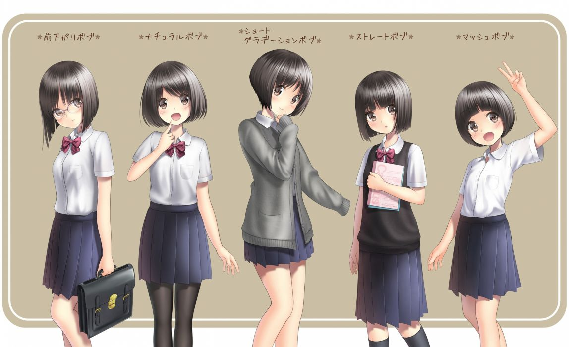 black hair brown eyes glasses group kneehighs original pantyhose sarekoube seifuku short hair translation request wallpaper