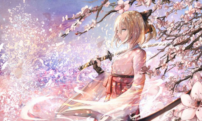 blonde hair bow cherry blossoms fate stay night flowers gloves jpeg artifacts katana petals saber short hair sishenfan sword tree weapon wallpaper