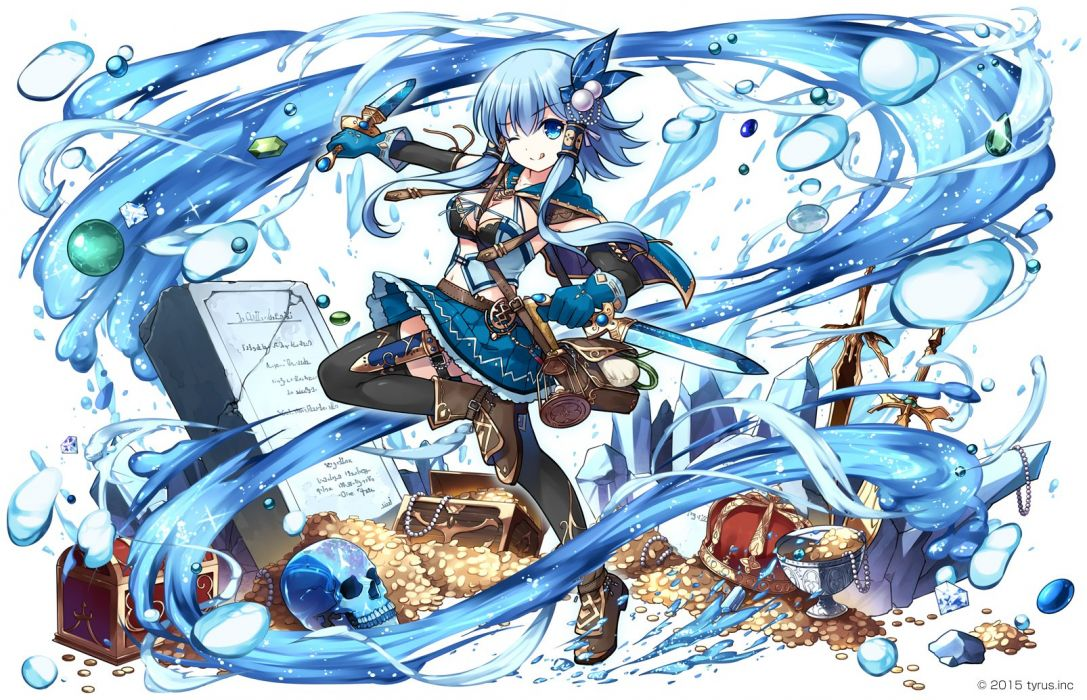 blue eyes blue hair boots cape elbow gloves gloves knife long hair magic original short hair skull sword thighhighs twintails water weapon wink wallpaper