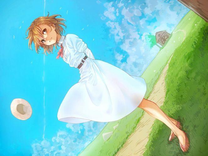 brown hair clouds grass hat misaka mikoto puma (hyuma1219) short hair skirt sky to aru majutsu no index wallpaper