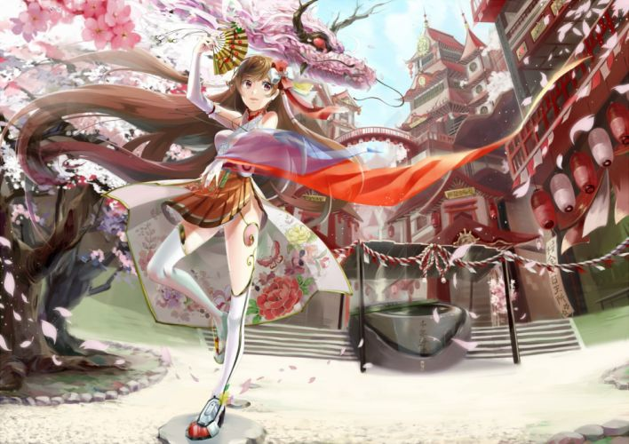 brown hair building cherry blossoms dragon elbow gloves long hair original petals red eyes skirt stairs thighhighs tree yache wallpaper