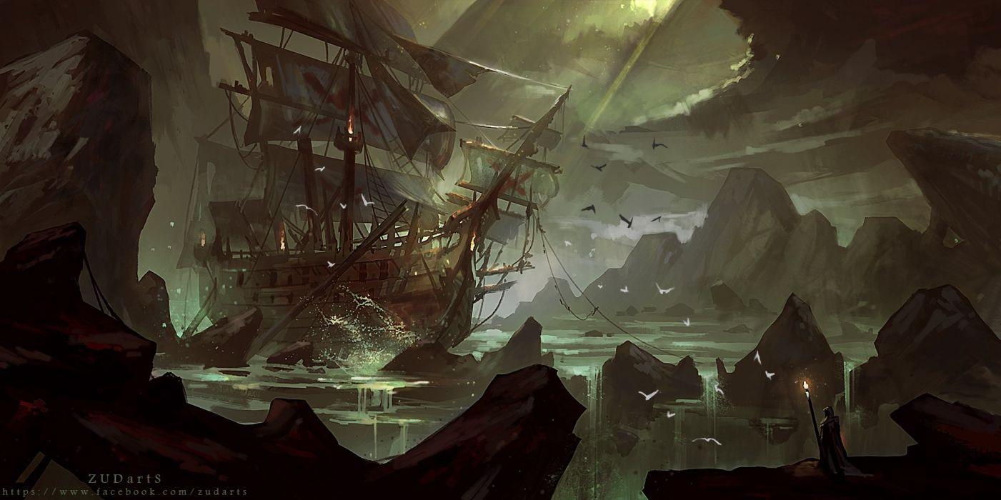 animal bird boat dark fire original scenic water watermark zudarts wallpaper