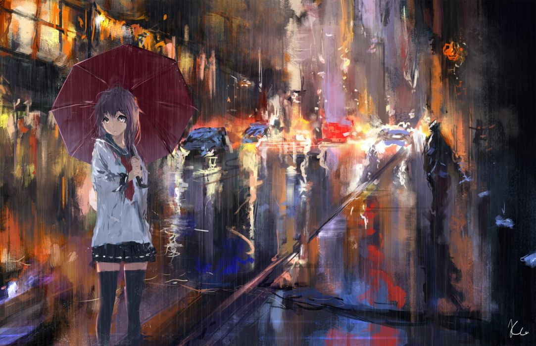 akatsuki (kancolle) car city kantai collection kc (kccorporation) rain scenic seifuku signed skirt thighhighs umbrella water zettai ryouiki wallpaper