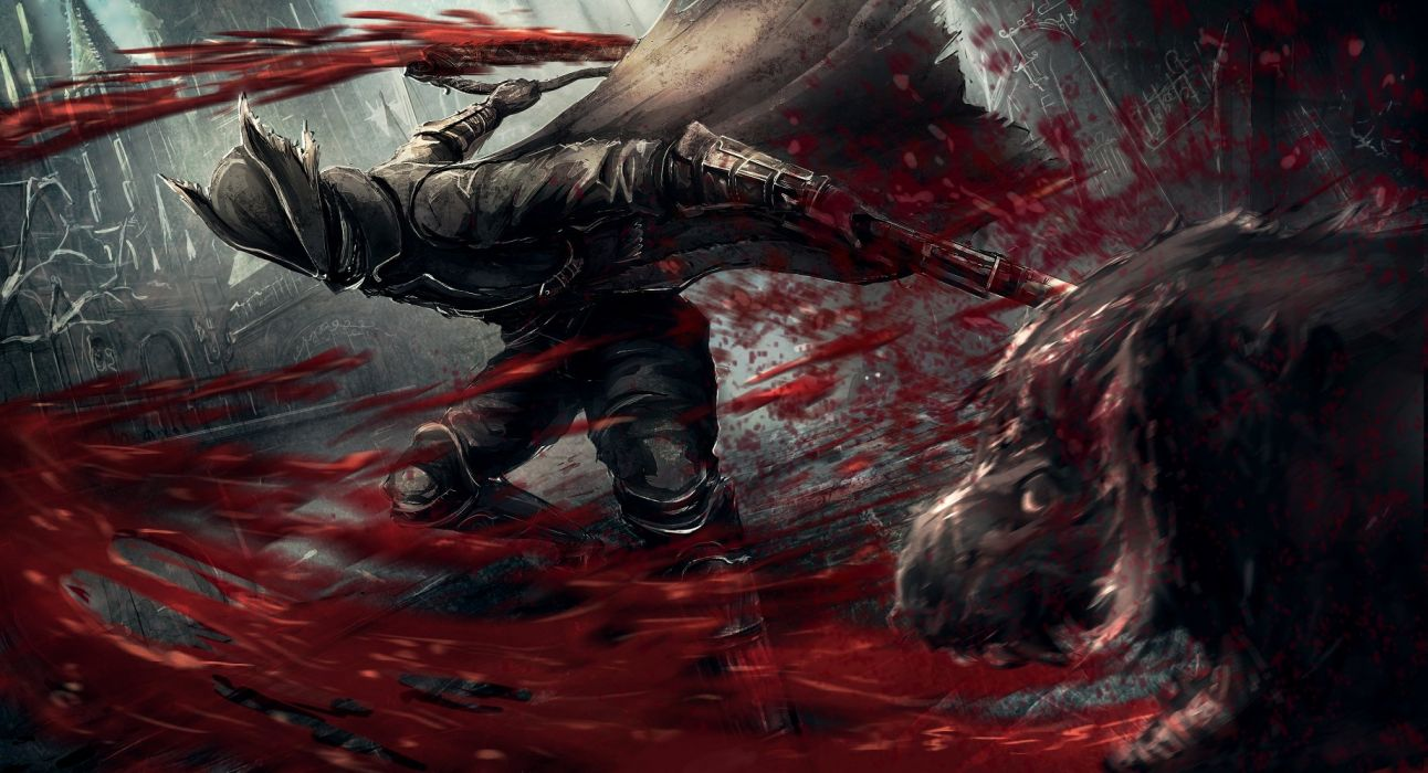 aliasing apple228 blood bloodborne boots cape gloves gun hat sword the hunter weapon wallpaper