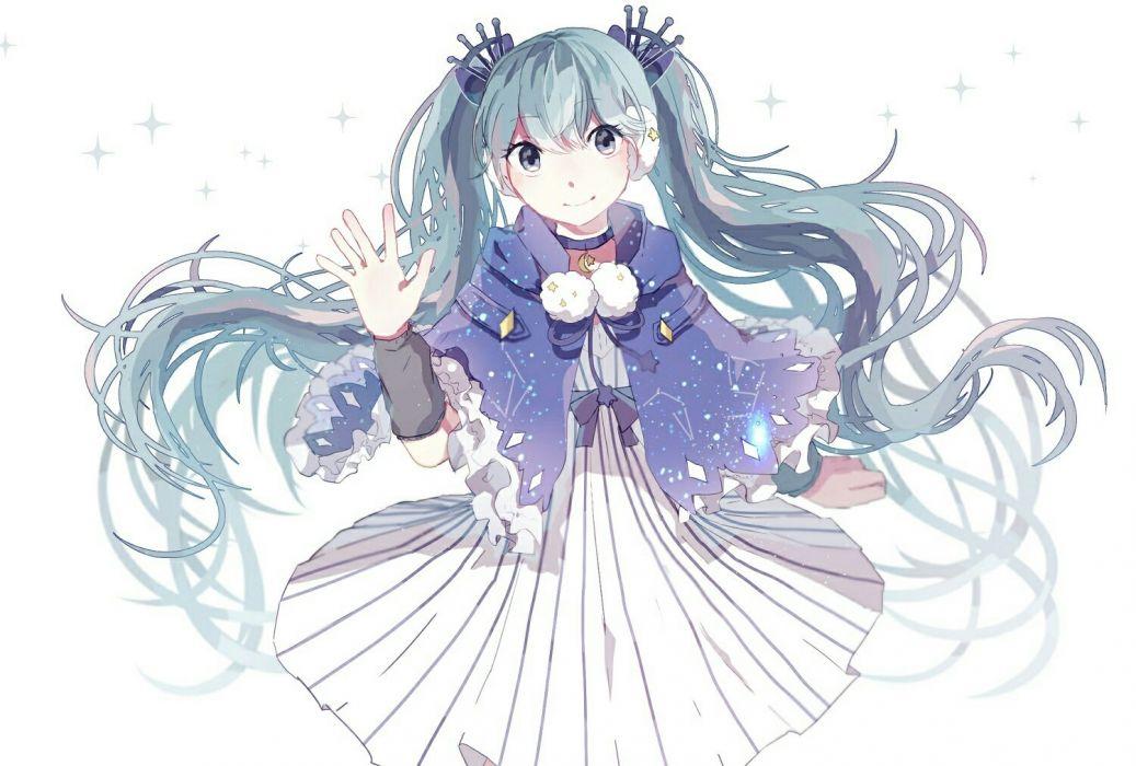 aliasing blue cape choker danjou sora dress fuyu no yoru miku hatsune miku polychromatic twintails vocaloid white wallpaper