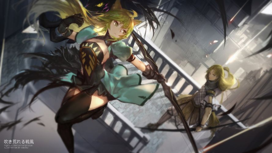 animal ears archer (f a) blonde hair bow (weapon) fate apocrypha fate stay night gloves long hair male swd3e2 thighhighs weapon wallpaper