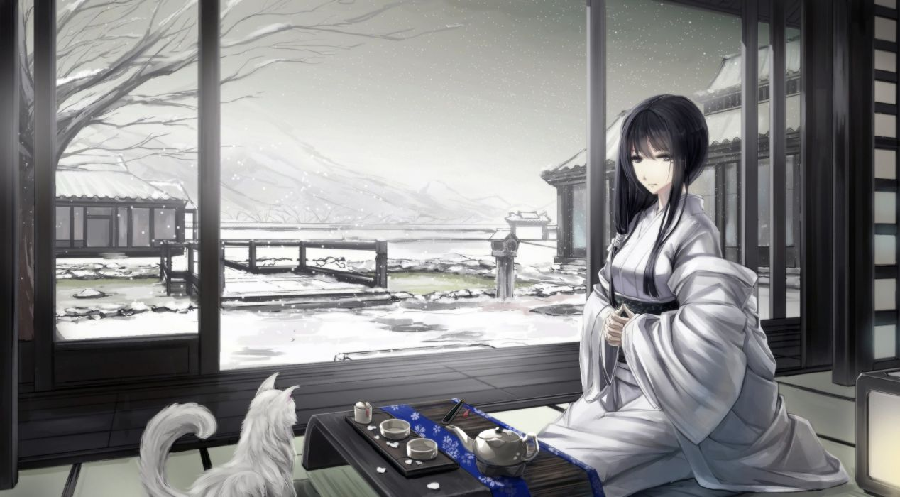 animal black hair cat drink japanese clothes kikivi kimono long hair original polychromatic snow winter wallpaper