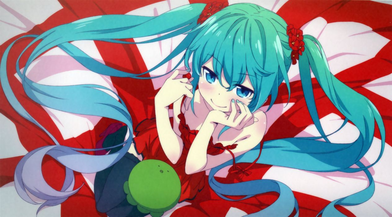 aqua eyes aqua hair blush dress hatsune miku kanzaki hiro long hair scan twintails vocaloid wallpaper