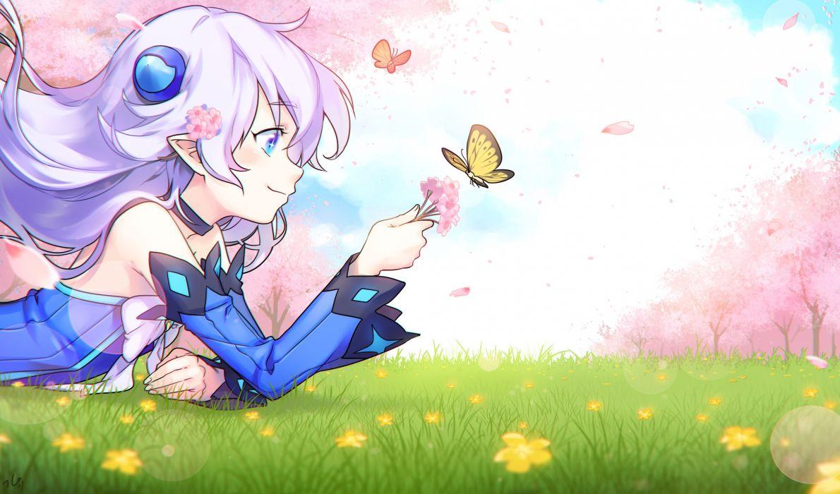 aqua eyes bow butterfly cherry blossoms elsword ginyu long hair lu (elsword) pointed ears white hair wallpaper