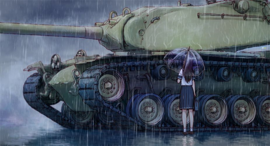 black hair combat vehicle original rain seifuku sharpshooter52 umbrella water weapon wallpaper