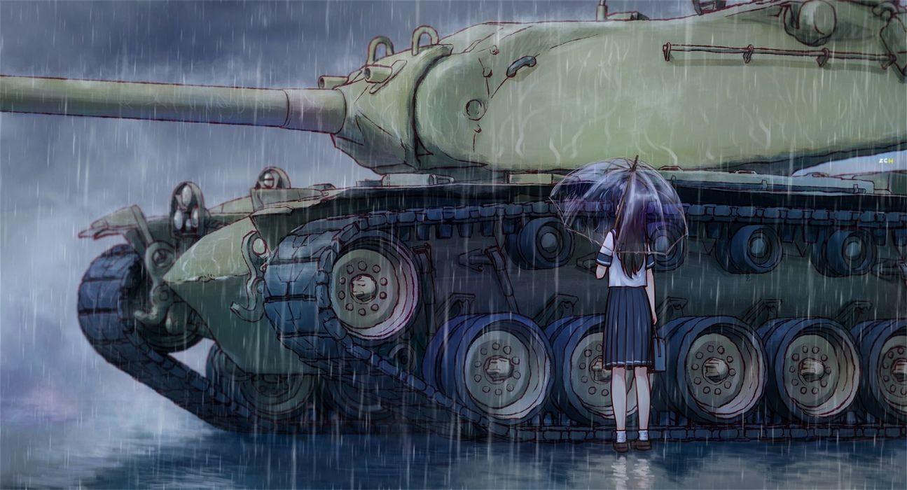 black hair combat vehicle original rain seifuku sharpshooter52 umbrella water weapon wallpaper