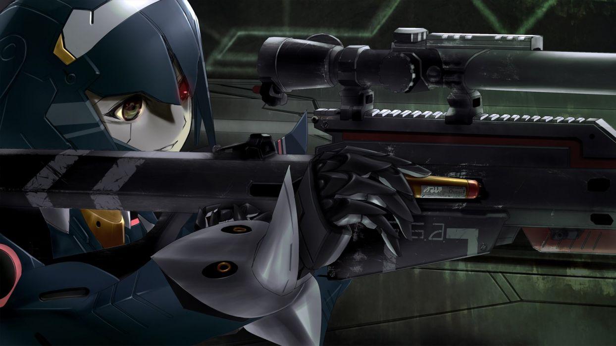 bicolored eyes brown eyes gun lisa (pso2) phantasy star online 2 red eyes robot tagme (artist) weapon wallpaper