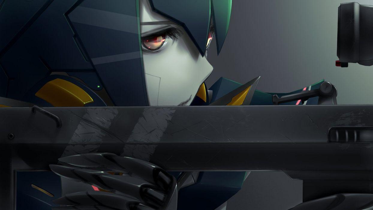 close gun lisa (pso2) phantasy star online 2 red eyes robot tagme (artist) weapon wallpaper