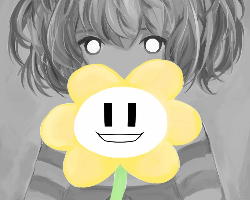 cropped flowey (undertale) frisk (undertale) polychromatic pupu (deency) undertale wallpaper
