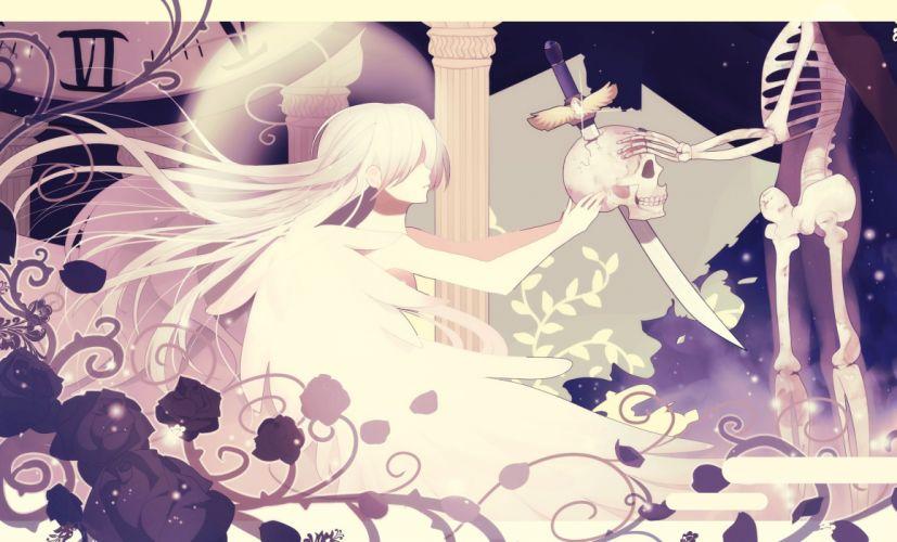 flowers monochrome moo original rose skull sword weapon white hair wallpaper