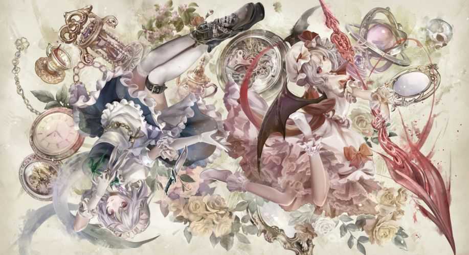 girls afraco boots bow braids drink flowers gray hair hat headdress knife maid red eyes rose socks spear thighhighs touhou vampire weapon wings wallpaper