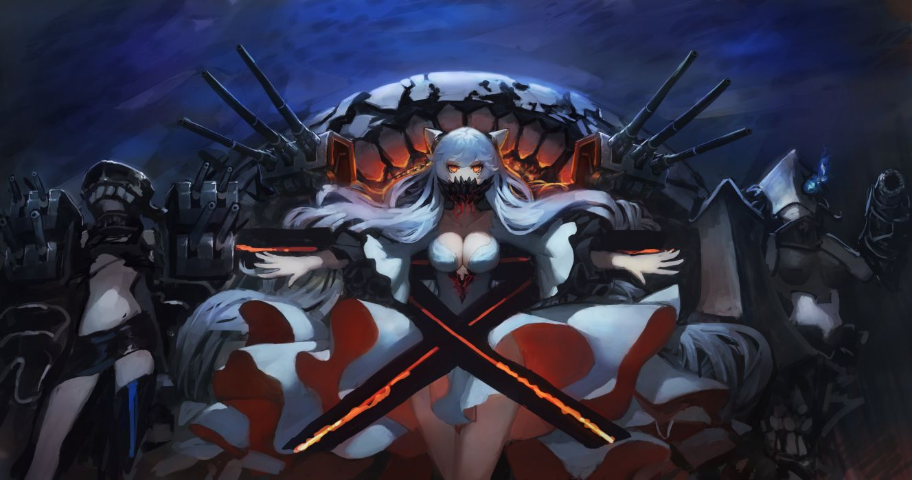 breasts cleavage dress gods horns kantai collection long hair midway hime no bra nopan orange eyes thighhighs tsu-class light cruiser white hair wallpaper