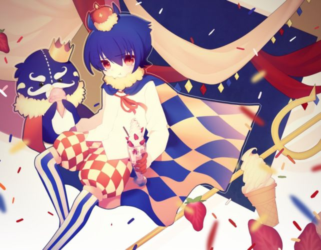 male blue hair cape crown fruit ice cream male moo red eyes strawberry tagme (character) wallpaper