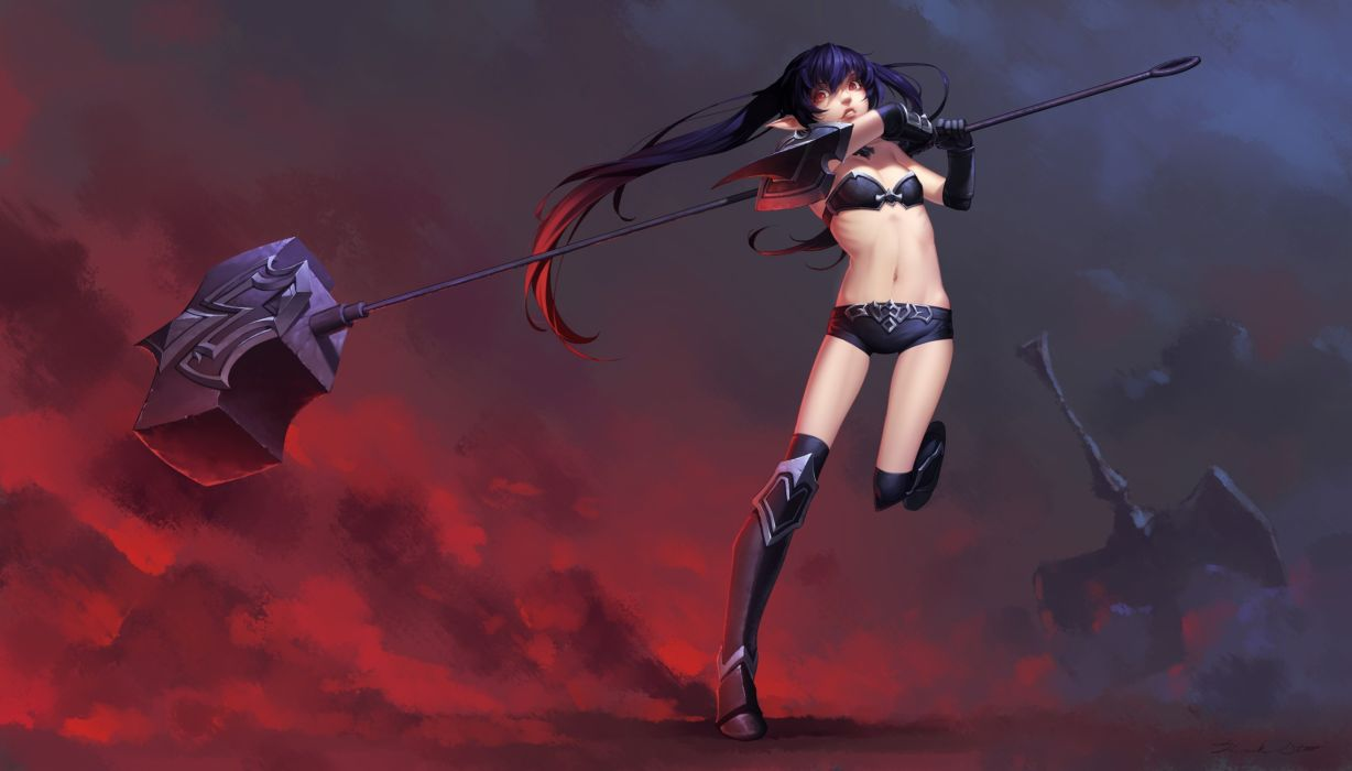 aliasing armor black hair boots daye bie qia lian kneehighs league of legends long hair navel pointed ears red eyes shorts twintails weapon wallpaper