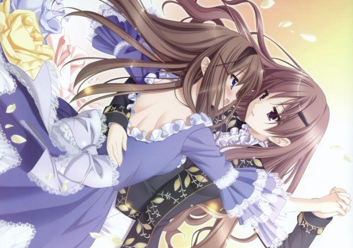 girls blue eyes brown hair dress kitajima kaede kitajima sara peko purple eyes scan shoujo ai sono hanabira ni kuchizuke wo wallpaper