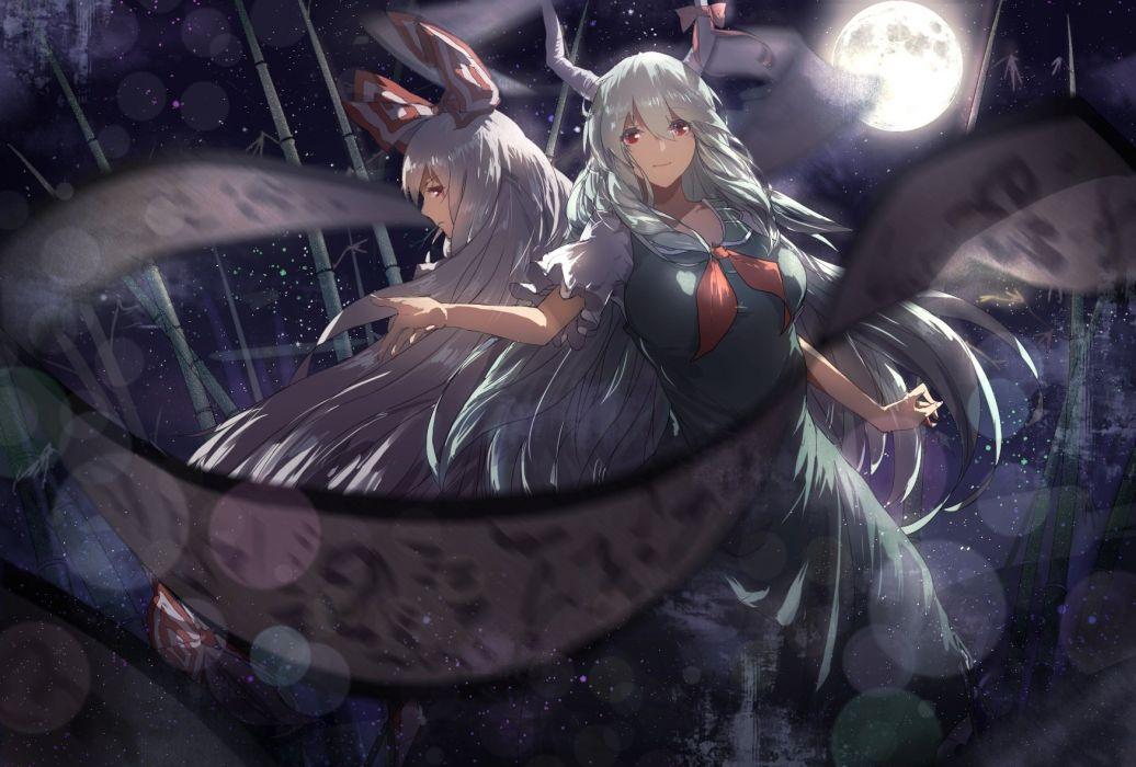 girls bow chun lanlanlan dress ex keine fujiwara no mokou gray hair horns kamishirasawa keine moon night red eyes touhou wallpaper
